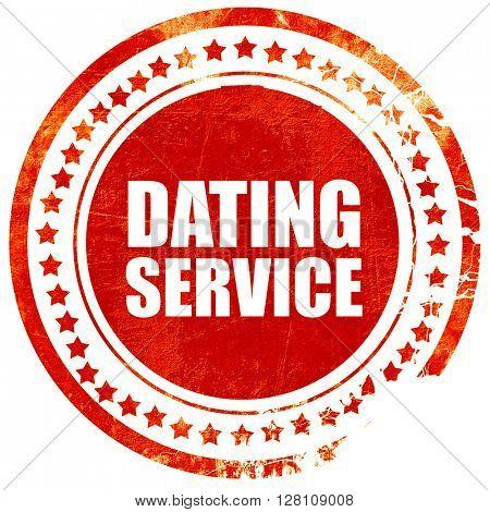 dating service, red grunge stamp on solid background