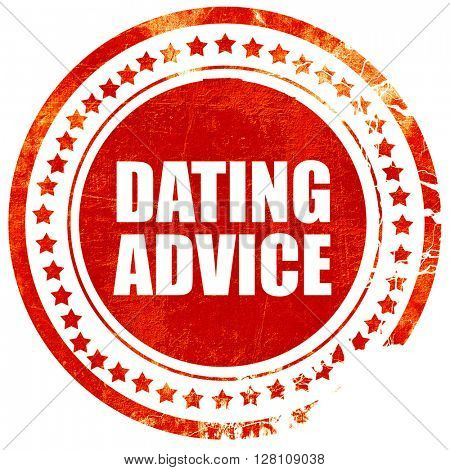 dating advice, red grunge stamp on solid background