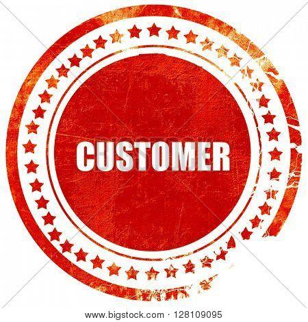 customer, red grunge stamp on solid background