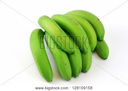 green bananas on white background back view
