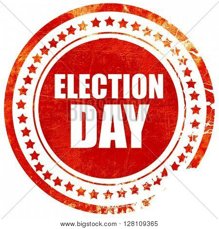election day, red grunge stamp on solid background