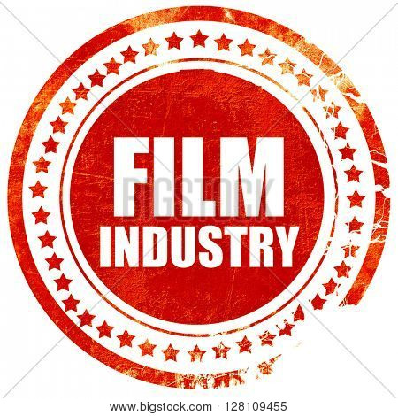 film industry, red grunge stamp on solid background