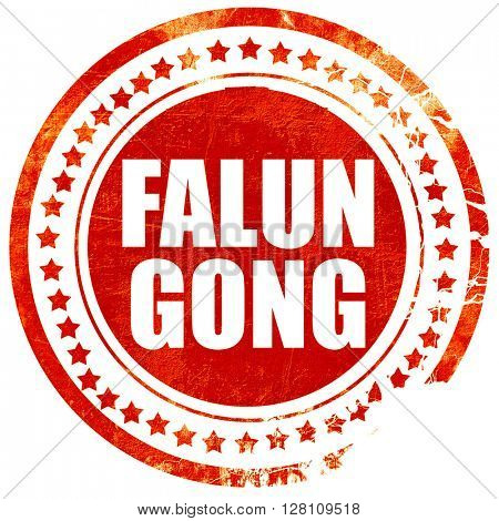 Falun gong, red grunge stamp on solid background