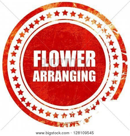 flower arranging, red grunge stamp on solid background