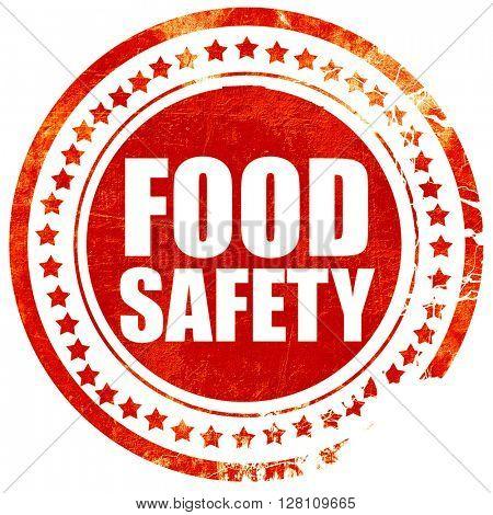 food safety, red grunge stamp on solid background