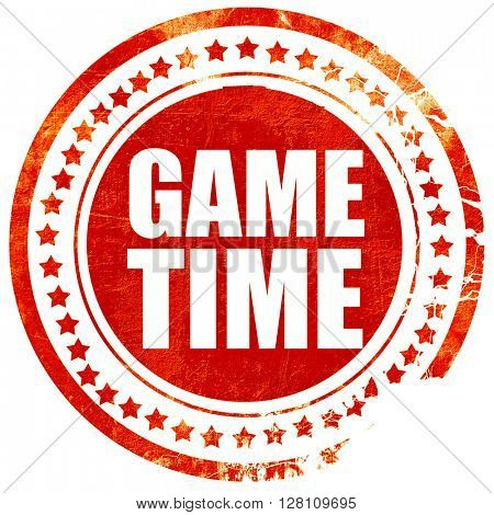 game time, red grunge stamp on solid background