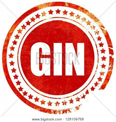 gin, red grunge stamp on solid background