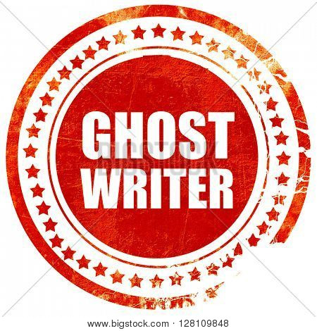 ghost writer, red grunge stamp on solid background