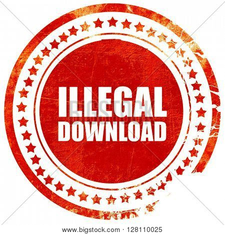 illlegal download, red grunge stamp on solid background