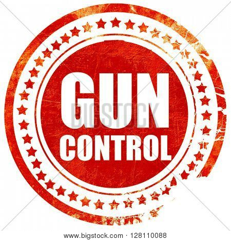 gun control, red grunge stamp on solid background