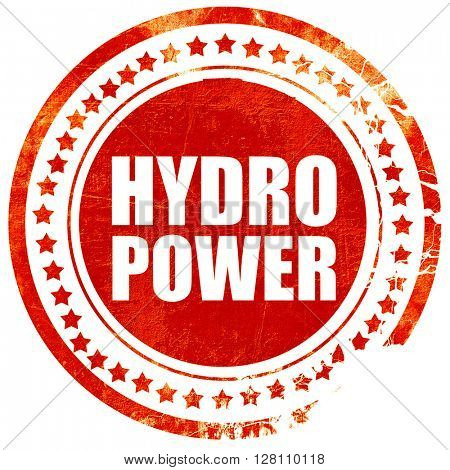 hydro power, red grunge stamp on solid background