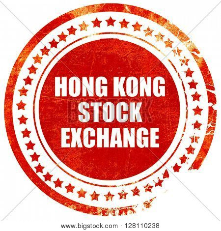 hong kong stock exchange, red grunge stamp on solid background