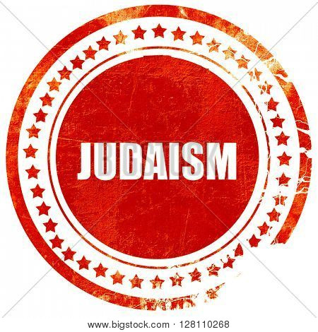 judaism, red grunge stamp on solid background