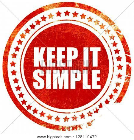 keep it simple, red grunge stamp on solid background