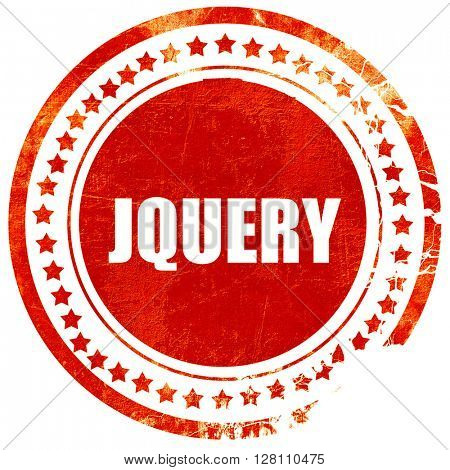 jQuery, red grunge stamp on solid background