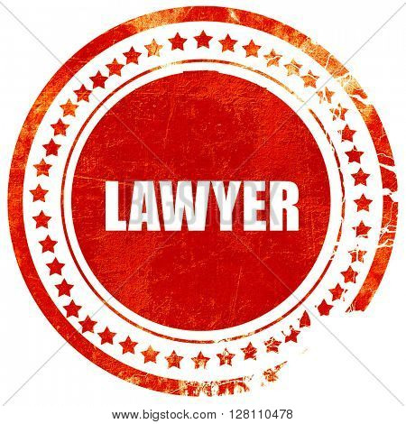 lawyer, red grunge stamp on solid background