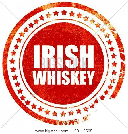 irish whiskey, red grunge stamp on solid background