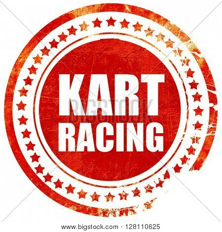 kart racing, red grunge stamp on solid background