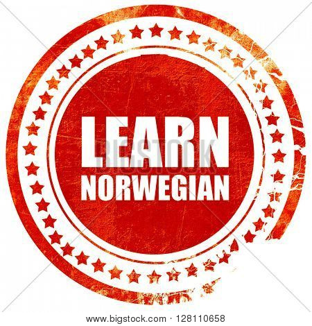 learn norwegian, red grunge stamp on solid background