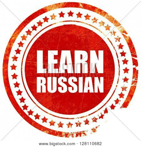 learn russian, red grunge stamp on solid background