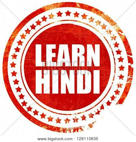 learn hindi, red grunge stamp on solid background