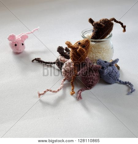 Mice Handmade Product, Knitted Rats