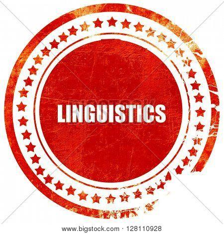 linguistics, red grunge stamp on solid background