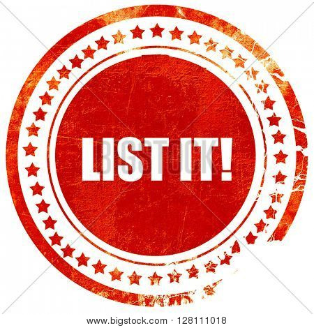 list it!, red grunge stamp on solid background