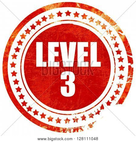level 3, red grunge stamp on solid background