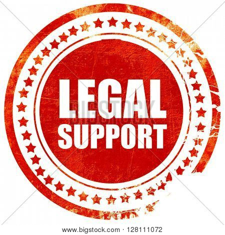 legal support, red grunge stamp on solid background