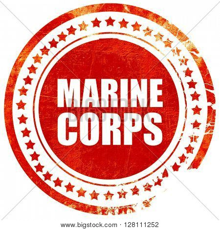 marine corps, red grunge stamp on solid background