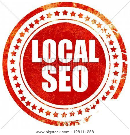 local seo, red grunge stamp on solid background