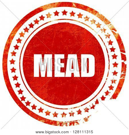 mead, red grunge stamp on solid background