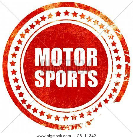motor sports, red grunge stamp on solid background