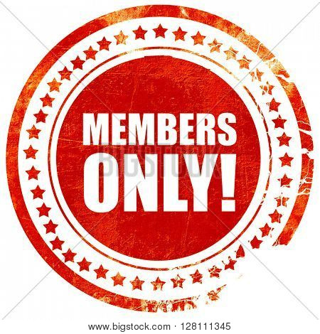 members only!, red grunge stamp on solid background