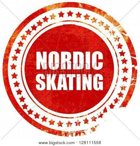 nordic skating, red grunge stamp on solid background