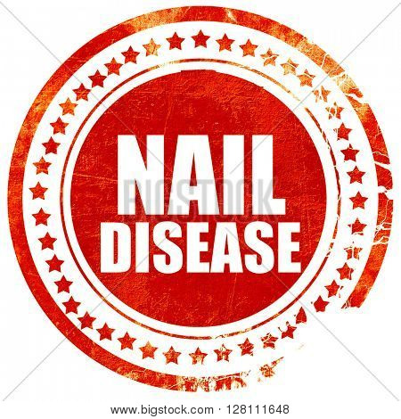 nail disease, red grunge stamp on solid background