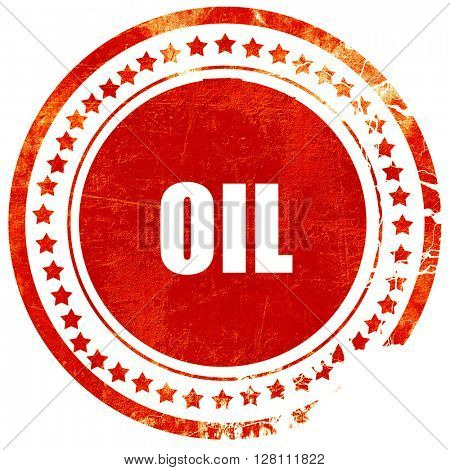 oil, red grunge stamp on solid background