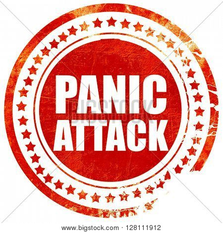 panic attack, red grunge stamp on solid background