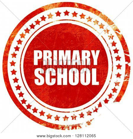 primary school, red grunge stamp on solid background