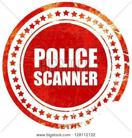 police scanner, red grunge stamp on solid background