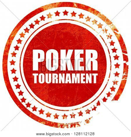 poker tournament, red grunge stamp on solid background