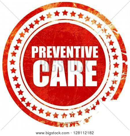 preventive care, red grunge stamp on solid background