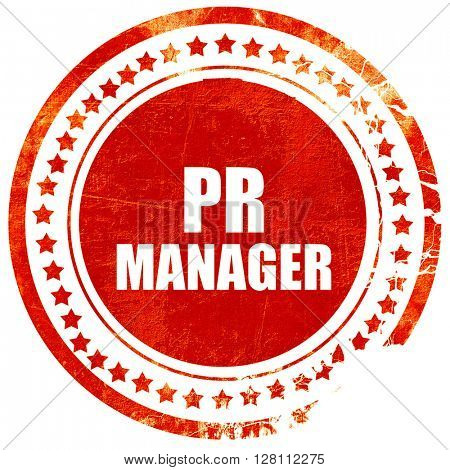 pr manager, red grunge stamp on solid background