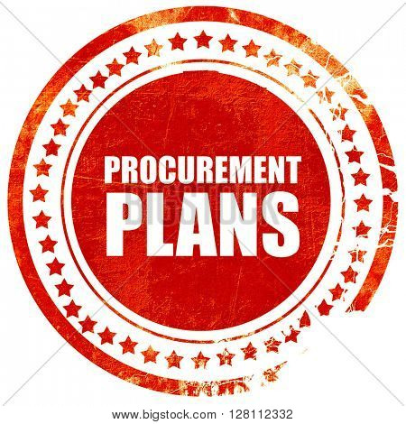 procurement plans, red grunge stamp on solid background