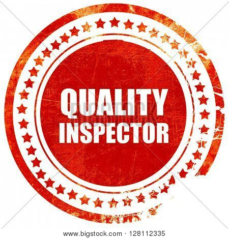 quality inspector, red grunge stamp on solid background