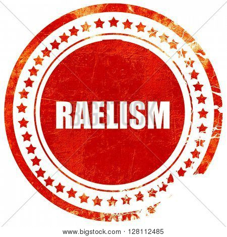 raelism, red grunge stamp on solid background