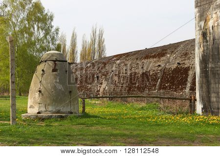 POLICE, POLAND - May 5, 2016: Bunkers of Nazi synthetic fuel factory in Police. The fuel was produced for the German army during World War II.