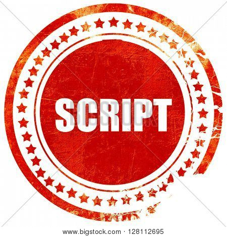 script, red grunge stamp on solid background