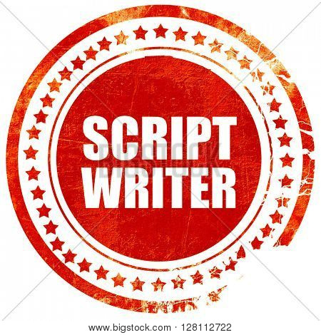 script writer, red grunge stamp on solid background